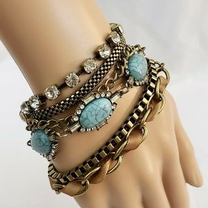 Women Gold Multi-strand Bracelet Fashion Jewelry